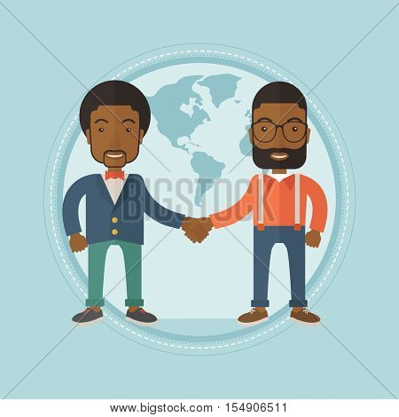 African-american business partners shaking hands. Business partners on a world map background. International business partnership. Vector flat design illustration in the circle isolated on background.