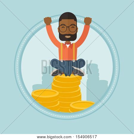 An african-american financier sitting on stack of golden coins. Financier taking care of his finances. Businessman saving finances. Vector flat design illustration in the circle isolated on background