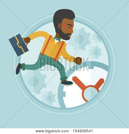 An african-american stressed businessman running in a hurry on a clock background. Time management and stress at work concept. Vector flat design illustration in the circle isolated on background.