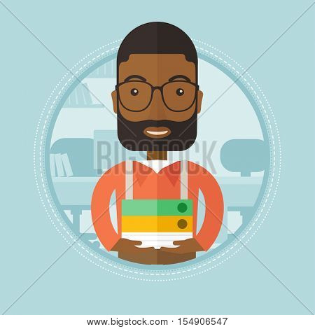 African-american office worker holding pile of folders in office. Office worker with documents. Office worker standing in office. Vector flat design illustration in the circle isolated on background.