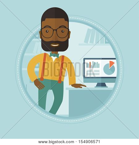 An african businessman leaning on a table in office during business presentation. Man giving business presentation. Business presentation in progress. Vector flat design illustration in the circle.