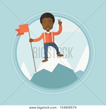 Happy young african-american leader businessman holding a red flag on the top of the mountain. Cheerful winner and leader concept. Vector flat design illustration in the circle isolated on background.