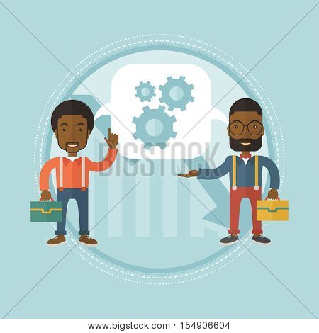 Two african businessmen sharing ideas about the decision how to exit from financial crisis. Overcome the financial crisis concept. Vector flat design illustration in the circle isolated on background.