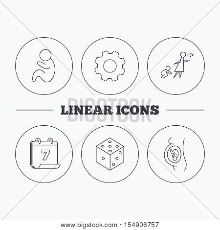 Pregnancy, paediatrics and dice icons. Unattended linear sign. Flat cogwheel and calendar symbols. Linear icons in circle buttons. Vector