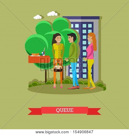People stay and talk in queue to buy food in street cafe. Vector illustration on flat style.