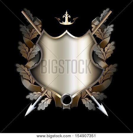 Medieval riveted shield with two spears and oal wreath on black background.