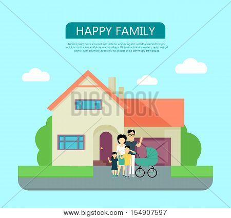 Happy family in the yard of their house. Home icon symbol sign. Colorful residential cottage in beige colors. Part of series of modern buildings in flat design style. Real estate concept. Vector