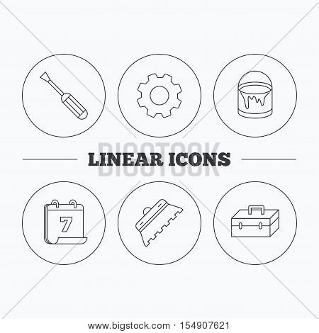 Screwdriver, trowel of tile and repair toolbox icons. Bucket of paint linear sign. Flat cogwheel and calendar symbols. Linear icons in circle buttons. Vector
