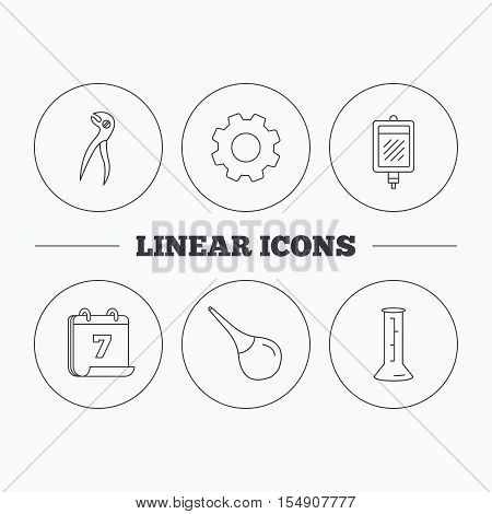 Beaker, blood and dental pliers icons. Clyster linear sign. Flat cogwheel and calendar symbols. Linear icons in circle buttons. Vector