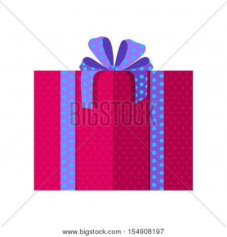 Single red gift box with blue ribbon in flat design. Beautiful present box with overwhelming bow. Gift box icon. Gift symbol. Christmas gift box. Isolated vector illustration