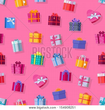 Seamless pattern gift boxes. Colorful wrapped gift boxes. Beautiful present box with overwhelming bow. Various gift boxes on pink background. Gift symbol. Christmas gift box. Vector illustration