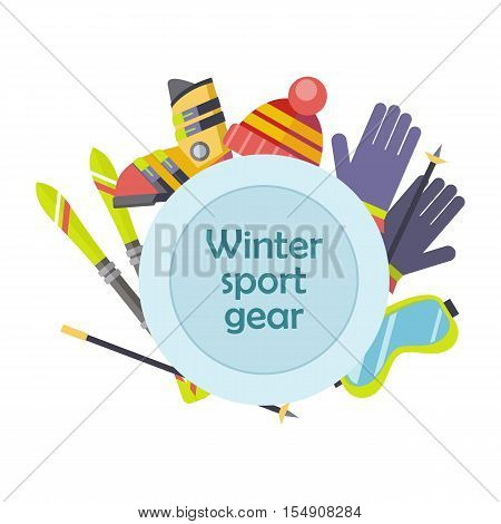 Winter sport gear vector concept. Flat design. Illustration with ski, boots, gloves, goggles. Winter sportswear and equipment. Cold season entertainments and outdoor activity. For resort, shop ad