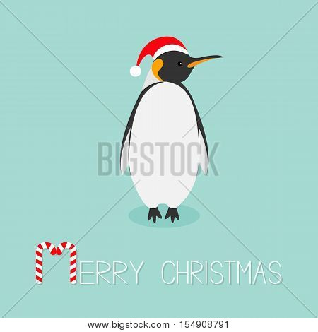 King Penguin Santa red hat. Emperor Aptenodytes Patagonicus Cute cartoon character. Flat design Winter antarctica bluebackground Merry Christmas Candy cane text. Greeting card. Vector illustration