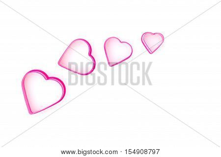 Set of Pink Heartshaped on whiite background