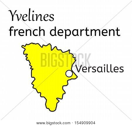 Yvelines french department map on white in vector
