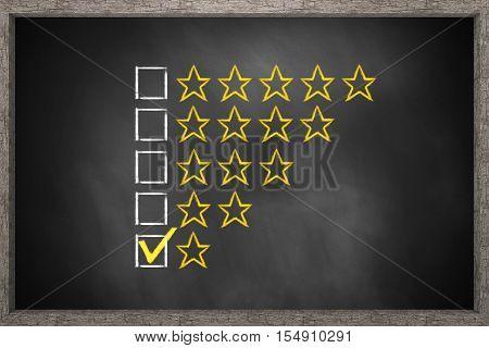 golden rating one star black chalkboard 3D Illustration