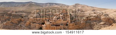 Large panoramic view of the The Holy Lavra of Saint Sabbas the Sanctified, known in Arabic as Mar Saba