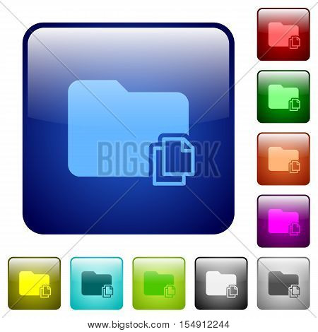 Copy folder color glass rounded square button set