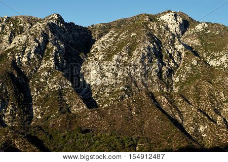 Mountains with an arid chaparral woodland creating a badlands landscape taken in the San Gabriel Mountains, CA