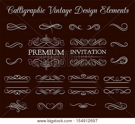 Vintage ornate frames, decorative ornaments, flourish and scroll elements. Invintation Design Eelements. Vector Illustration