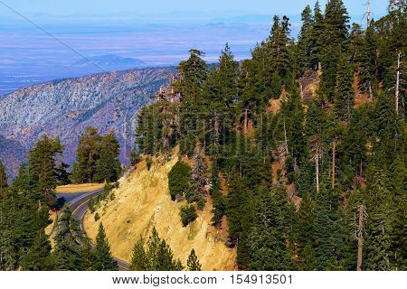 Angeles Highway also known as Highway 2 winding through the San Gabriel Mountains overlooking the Mojave Desert taken in the San Gabriel Mountains, CA