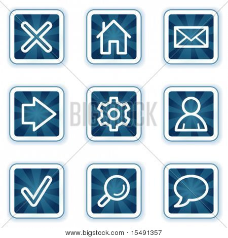 Basic web icons, navy square buttons