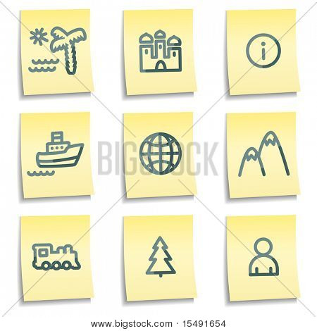 Travel icons set 1, yellow notes series