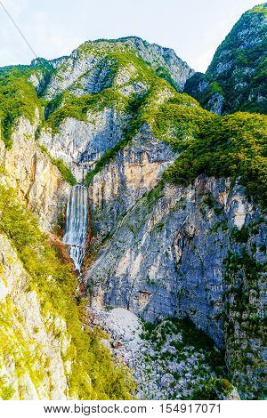 Big waterfall in the mountains. Slovenia Landscape
