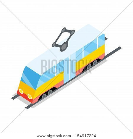 Public tram icon. Isometry yellow tram on rails with shadow. Public transport concept. City isometric object in flat. Isolated vector illustration on white background.