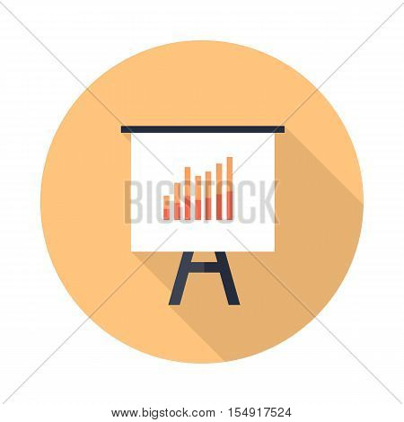 Presentation screen with bar charts isolated. Flip Chart. Editable items in flat style for your web design. Part of series of accessories for work in office. Infographics. Vector illustration