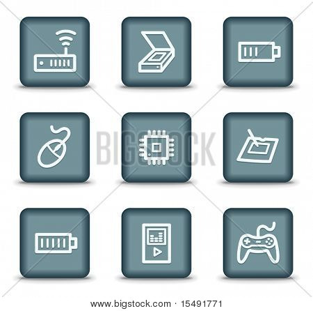 Electronics web icons set 2, grey square buttons poster