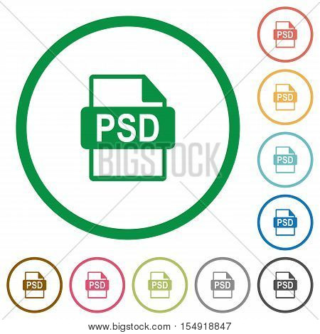 PSD file format flat color icons in round outlines