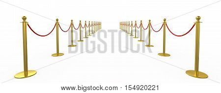Golden fence, stanchion with red barrier rope, isolated on white background. 3d rendering