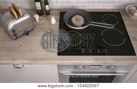 Kitchen hob with frying pan, top view, 3d illustration