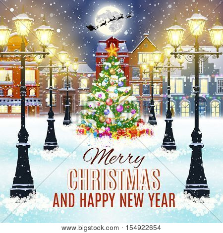 happy new year and merry Christmas winter old town street with christmas tree. Santa Claus with deers in sky above the city. concept for greeting, postal card, invitation, template,
