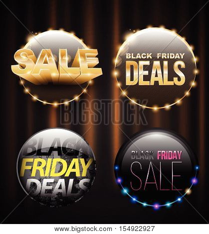 Black Friday SALE banner set for promotion advertising. Vector illustration. Can be used for e-commerce e-shopping flyers posters web design and printed materials.