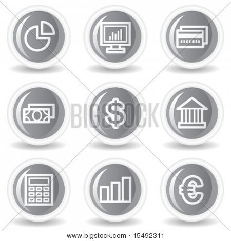 Finance web icons set 1, circle grey glossy buttons