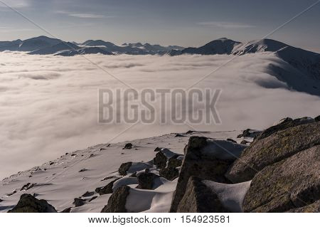 Beautiful mountain landscape during inversion. Tatry. Poland