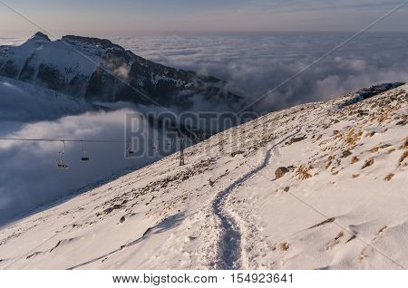 Beautiful mountain landscape during inversion. Tatra mountains. Poland