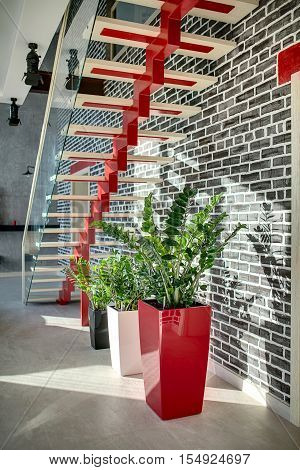 Red stair with light wooden rungs and a glass partition on the black brick wall background. Under the stair there are plants in the multi-colored pots. On the floor there are light tiles.