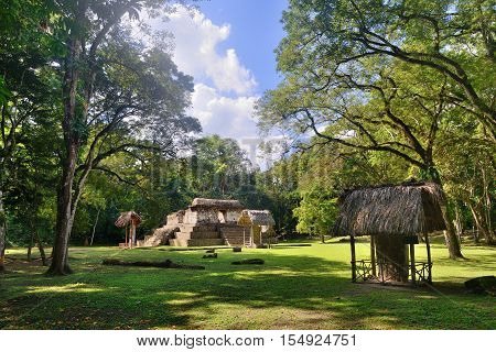 Little studied Pyramid and Stella archaeological park Cebal in Guatemala