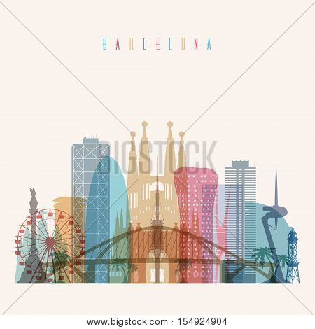 Transparent styled Barcelona skyline detailed silhouette. Trendy vector illustration.