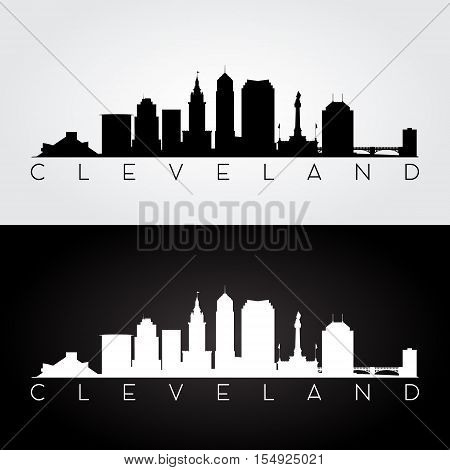 Cleveland USA skyline and landmarks silhouette black and white design vector illustration.