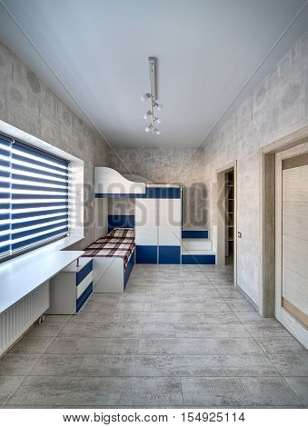 Kid's room in a modern style with light walls with patterns and a parquet on the floor. There are doors, a white tabletop, windows with blue blinds, a white-blue bunk bed with a wardrobe and lockers.