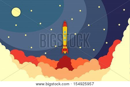 Space rocket launch. Vector illustration with flying rocket. Space travel. Project development. Creative idea