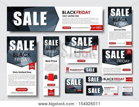 Set Of Web Banner For Black Friday Sales, Standard Sizes