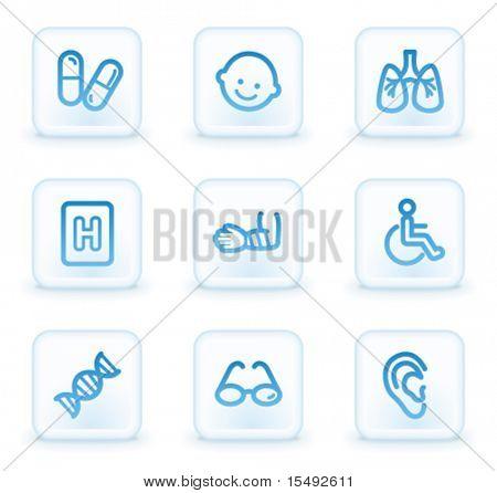 Medicine web icons set 2, white square buttons