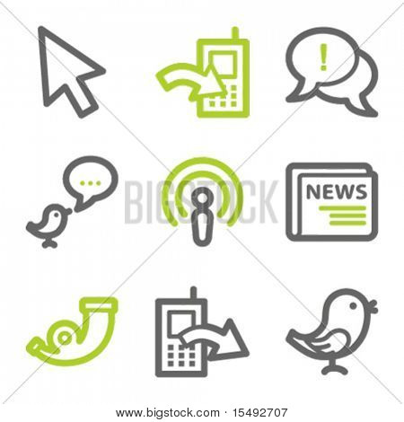 Internet web icons set 2, green and gray contour series