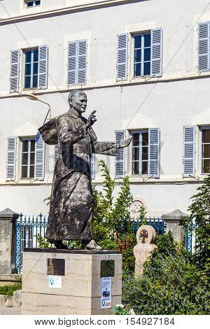 Monument To Pope John Paul Ii In The Courtyard Of Basilica Of Notre-dame De Fourviere