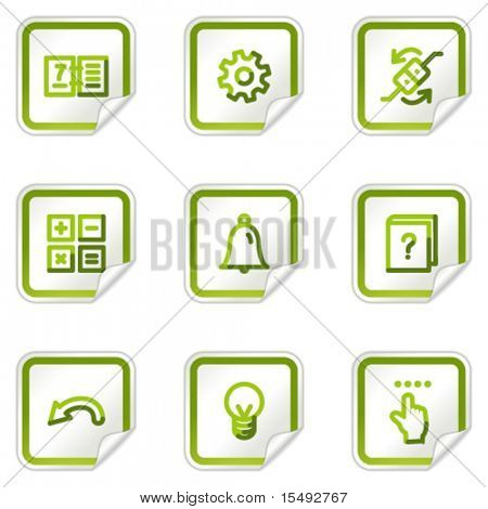 Organizer web icons, green stickers series